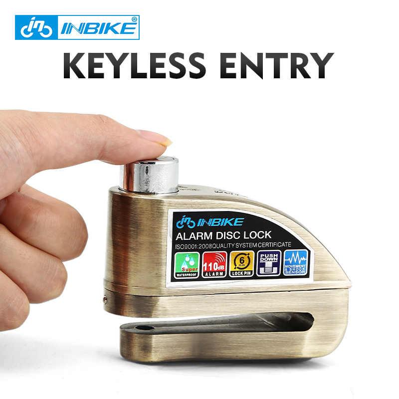 INBIKE Anti-Theft Roda Sepeda Motor Disc Brake Lock Keamanan Kunci Cakram Sepeda Kunci Sepeda dengan 3 Tombol dan Mengirim tas Kunci Alarm Tali
