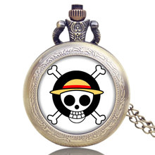 One Piece Skull Pocket Watch With Chain