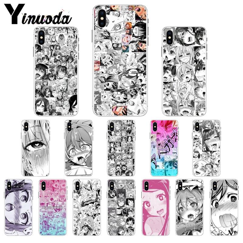 Yinuoda Anime girl cartoon japan cute faces Soft Shell Phone Cover for Apple iPhone 8 7 6 6S