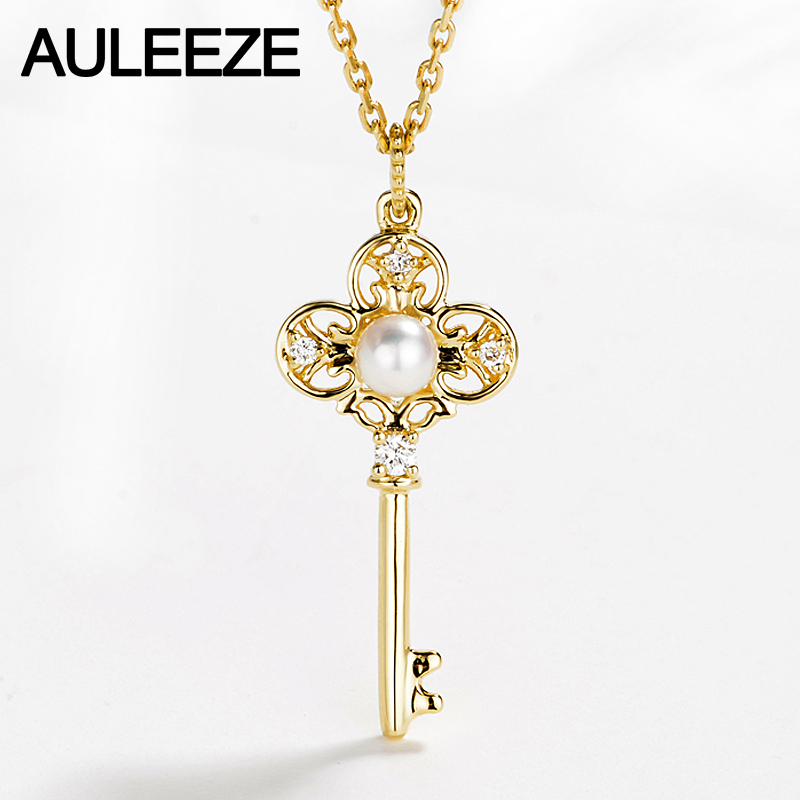 AULEEZE Gold Pearl Key Pendant 18K Solid Yellow Gold Real Natural Pearl Diamond Pendant Necklace Match 18' Silver Necklace annular black pearl diamond pendant alloy necklace