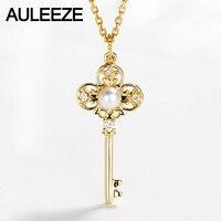 AULEEZE Perla de Oro Clave Colgante 18 K Sólido Oro Amarillo Real de la Perla Natural Colgante Collar de Diamantes Partido Collar de Plata'