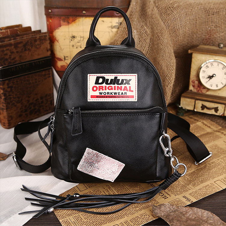 ФОТО Women School Bag  for Girls Italian Famous Brand Women Cow Genuine Leather Backpack Vintage Black Backpack for Teenager 33075