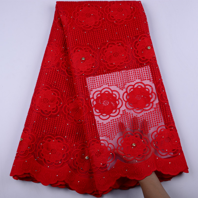 Best Quality Red African Tulle Lace Fabric High Quality Embroidery French Net Mesh 2019 Nigeria Lace
