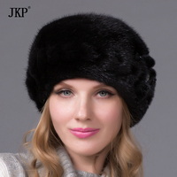 Genuine mink fur hat female winter all imported mink fur hat floral pattern in 2017 Russia's high end luxury women hat DHY 49