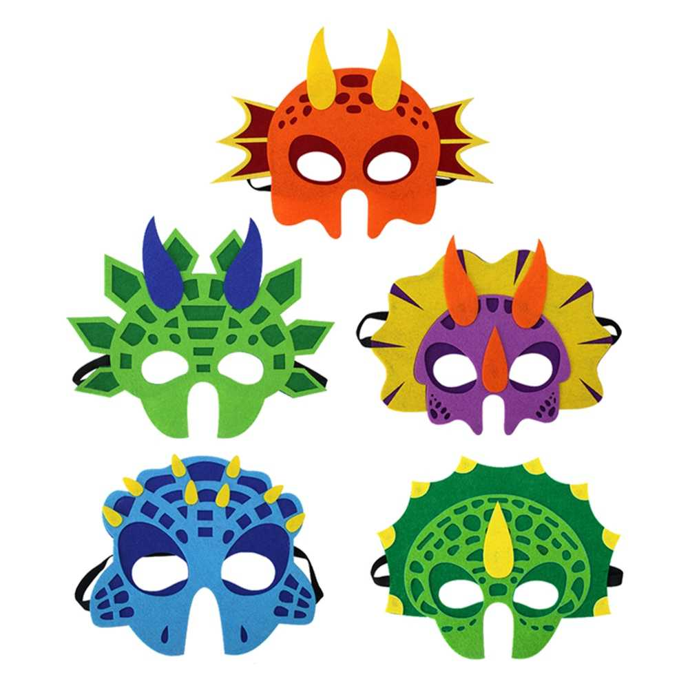 5pcs Joyful Funny Lightweight Felt Cosplay Creative Animal Mask Dinosaur Mask for Kid Halloween Party Child A20