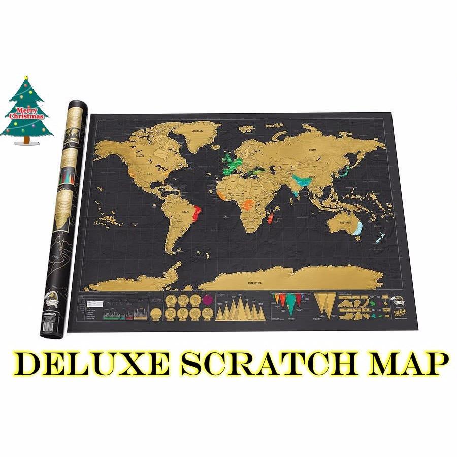 42x30cm Travel Deluxe Scratch Off Map Erase Black World Mapa For Kids Traveler Geography Creative Gift Wall Poster Mundi Rascar