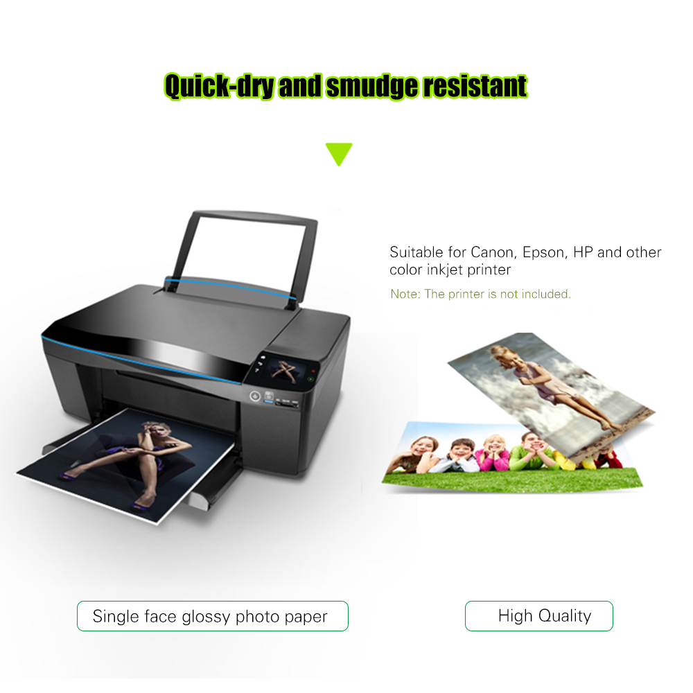 US $7 11 32% OFF 100 Sheets 4R Glossy Photo Paper 200gsm Waterproof  Resistant Color Printing Coated for Canon Epson HP Color Inkjet Printer-in