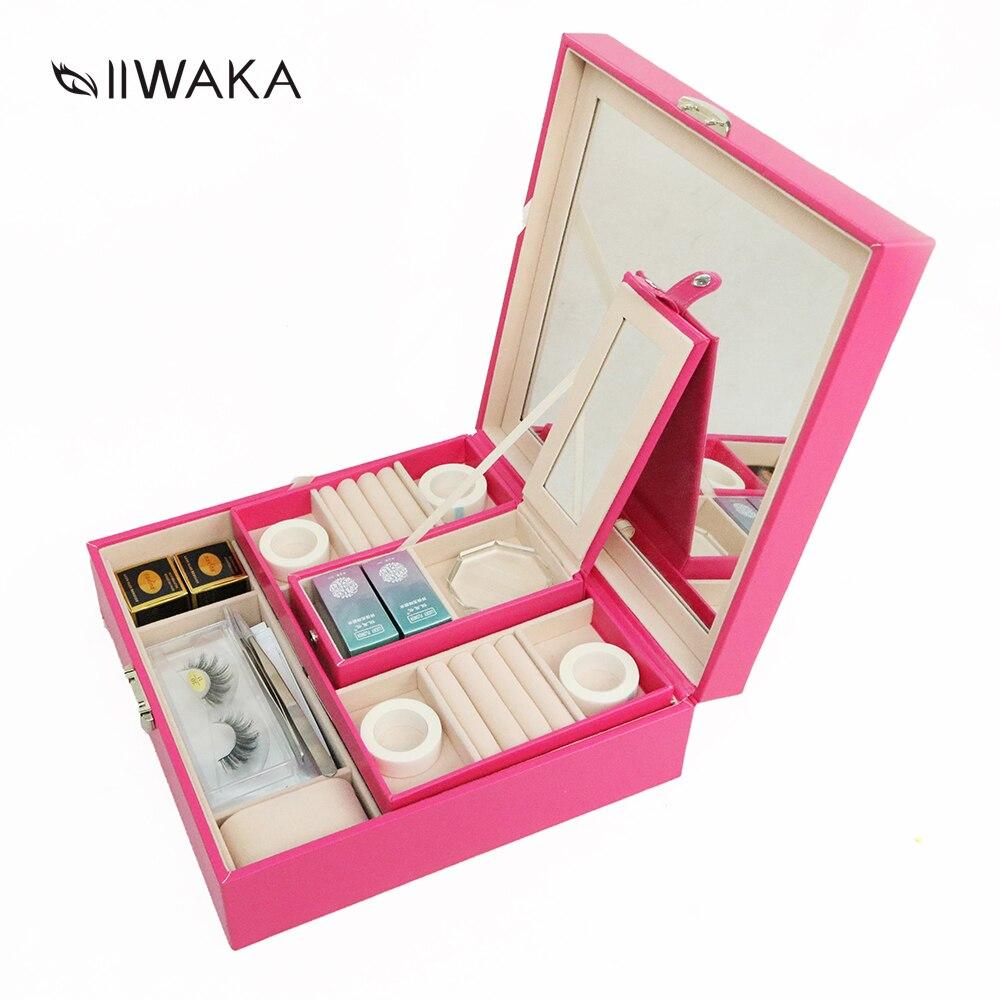 IIWAKA 3 вида цветов Роскошные инструментарий для ресниц расширений ресницы с макияж инструменты: клей, подушечки для глаз, ленты, кисти, пинцет...
