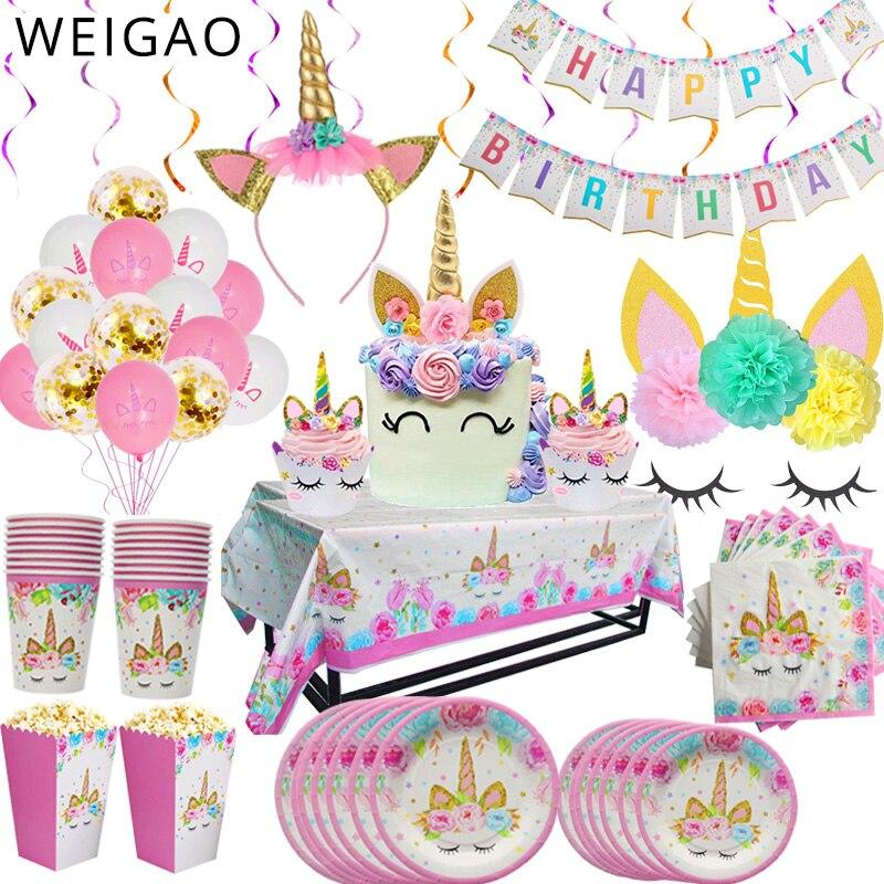WEIGAO unicornio fiesta decoración cumpleaños fiesta decoración niños unicornio tema papel sombrero servilletas placa chica Feliz cumpleaños Regalos conjuntos