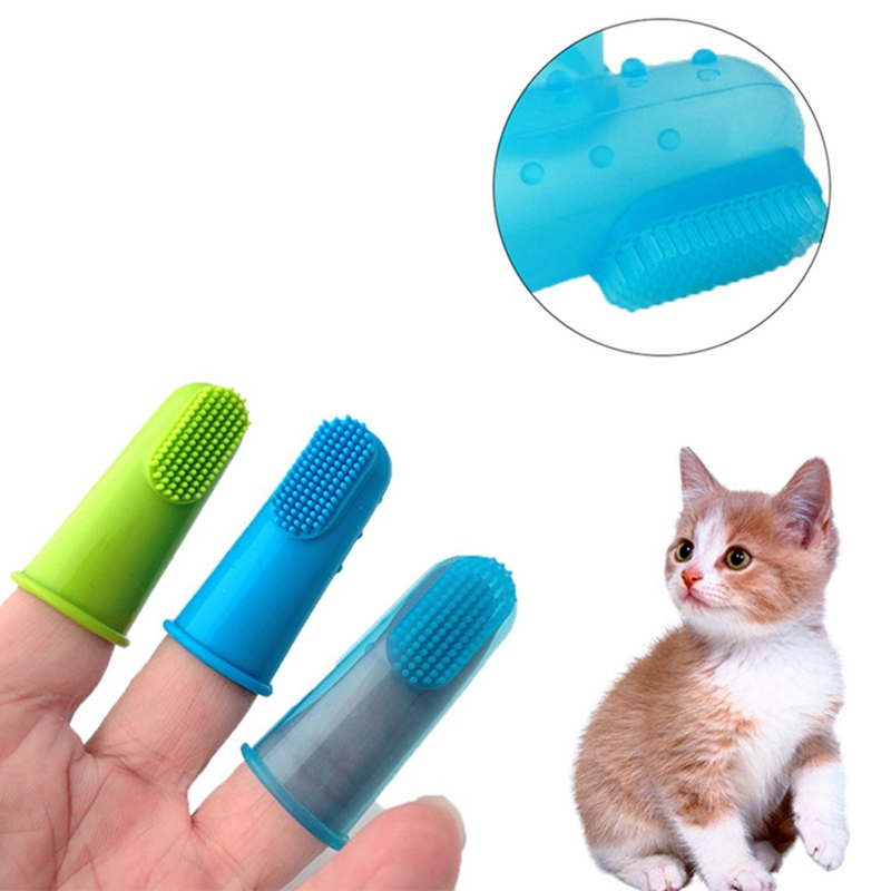 Dog Cat Brush Super Soft Cleaning Supplies Addition Breath Teeth Hot Selling Silicone Toothbrush Pet Finger Care Dog image