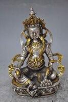 Trí nội thất cổ điển Tây Tạng Bạc Đồng Mạ Vàng Phật Giáo Tây Tạng Tượng-Trắng Tara Phật kim loại thủ công mỹ ngh