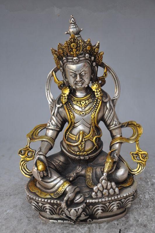 Vintage home decoration Tibet Silver Copper Gilt Tibetan Buddhism Statue -- White Tara Buddha metal handicraftVintage home decoration Tibet Silver Copper Gilt Tibetan Buddhism Statue -- White Tara Buddha metal handicraft