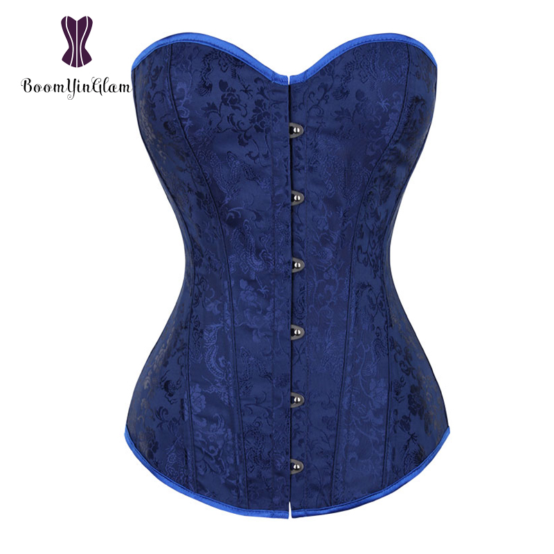 Free shipment dark blue body shapewear lacing bondage waist trainer jacquard top lace up boned   bustiers   &   corsets   overbust 816#