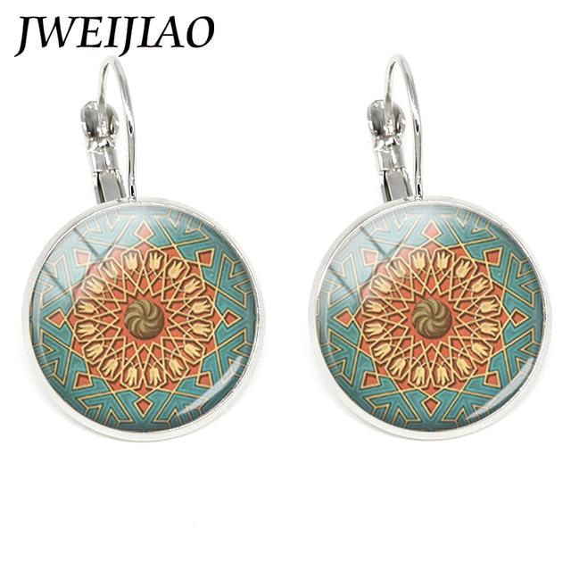 Jweijiao New Arrived Mandala Flower Clip On Earrings India Statement Chakra Zen Yoga Friendship Jewelry