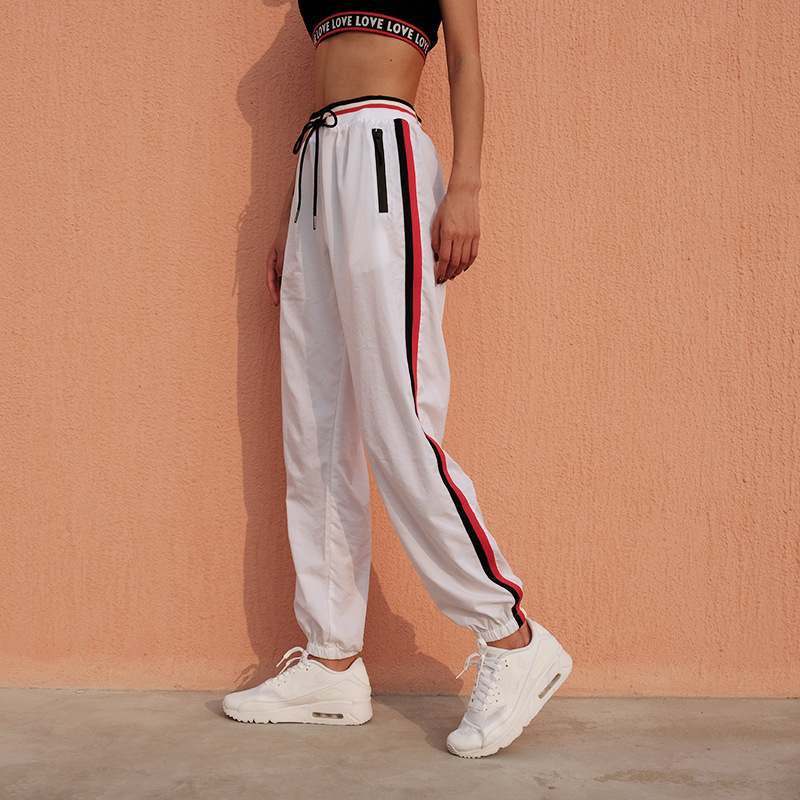 White Stripped Jogger Women Raibow Striped Pants Harem Joggers Casual Sweatpants 2017 Autumn Long Trousers Drawstring Брюки