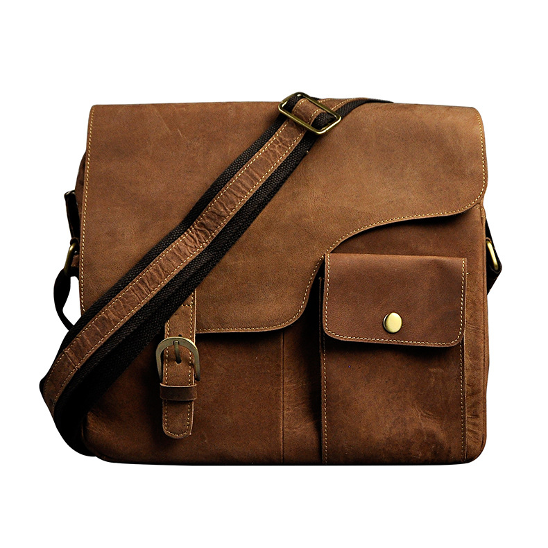 New Fashion Real Crazy Horse Leather Male Casual Messenger bag Satchel 12 Laptop Bag Cross-body Shoulder bag For Men 2089