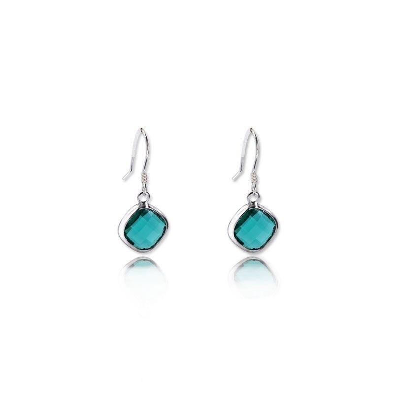 ZTUNG CHE5 Natural de moda pendientes de piedras preciosas de Plata de Ley 925 joyería fina estilo Simple de las mujeres chica regalo
