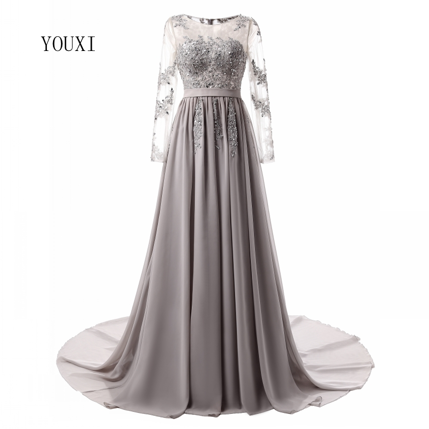 Long Sleeve Elegant Closed Back Long Evening Dress 2018 Bride Banquet  Pleated Court Train Prom Formal Gowns Robe de Soiree