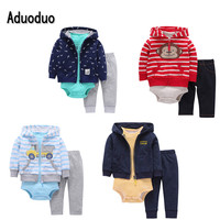 2016 New 3pcs Set Baby Boys And Girls Long Sleeve Bodysuit Pants 100 Cotton Fleece Hooded