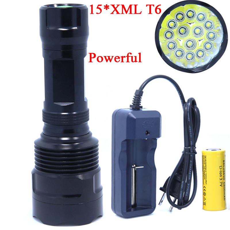 15T6 High Power 20000 Lumen 15 x XML T6 LED Flashlight Torch Waterproof Self-defense 5 Mode 26650 Battery LED Flash Light Lamp super bright 72000lm 5 mode 28 xml t6 led flashlight torch flash light lamp for outdoor hunting with 4 26650 battery