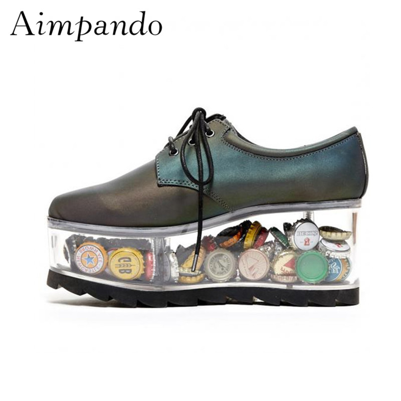 New 2019 Clear Transparent High Heel Shoes Woman Round Toe Cross tied Thick Platform Real Leather
