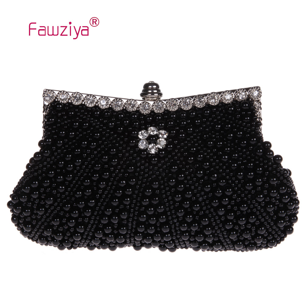 Fawziya Clutch Bag Beaded Pearl Clutch Purse For Wedding Beaded Crystal Handbag