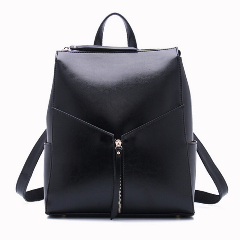 women black leather backpack female fashion office bag ladies backpack for girls travel bag sac a