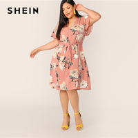 9b70c40161 SHEIN Plus Size Pink Self Belted Floral Print Tunic Dress 2019 Women Summer  Casual Butterfly Sleeve
