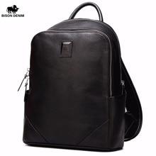 BISON DENIM Genuine Leather 14″ School Laptop Backpack Men Women Travel Work Backpack Fashion Male Backpack N2527-1B