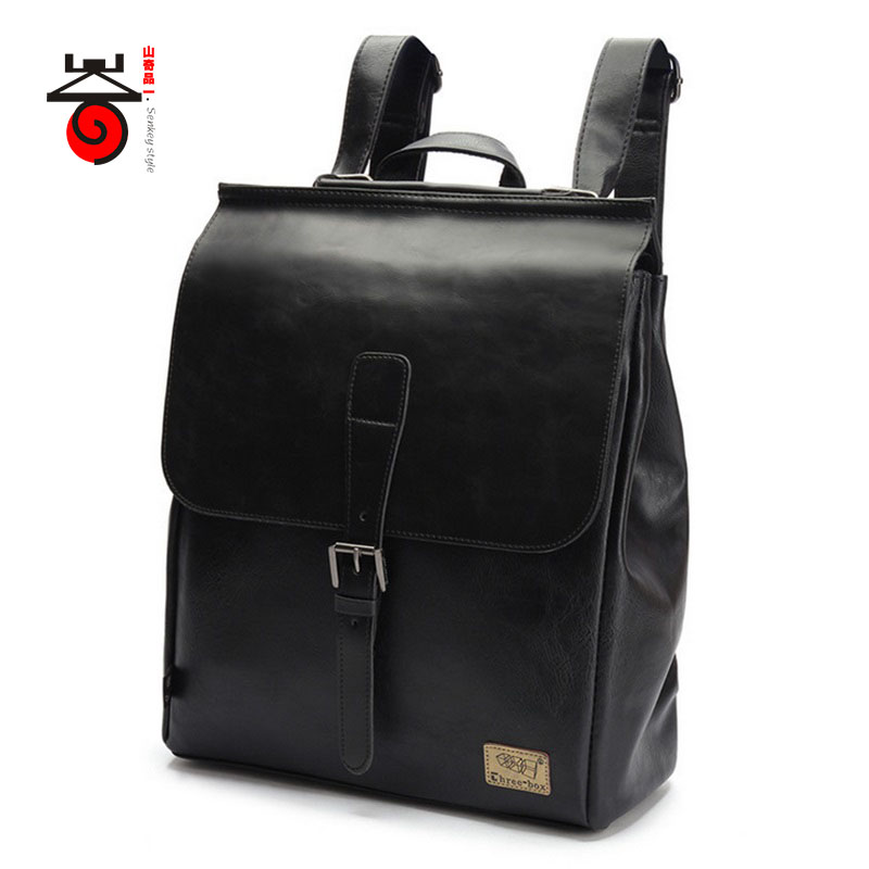 ФОТО 2017 Senkey style Leisure High Quality Men Business Backpacks Fashion High Grade PU Leather Designer Men's Schoolbag Travel Bag