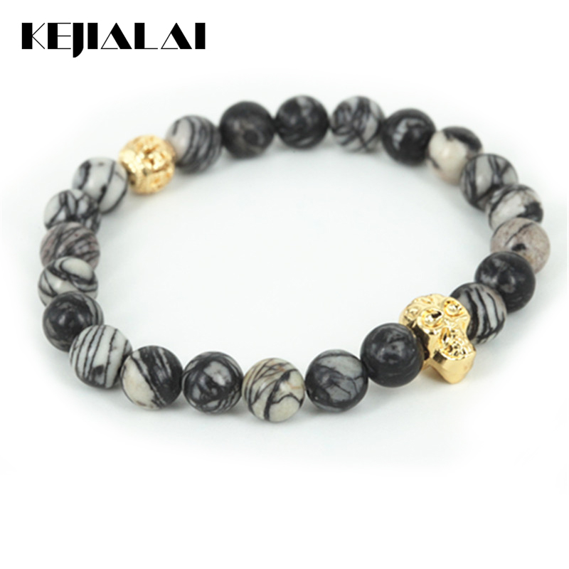 High Quality Beaded 24k Gold Skull Head Men Bracelet Natural Network Round Stone Beads Women Bracelet Fine Jewelry As A Gift