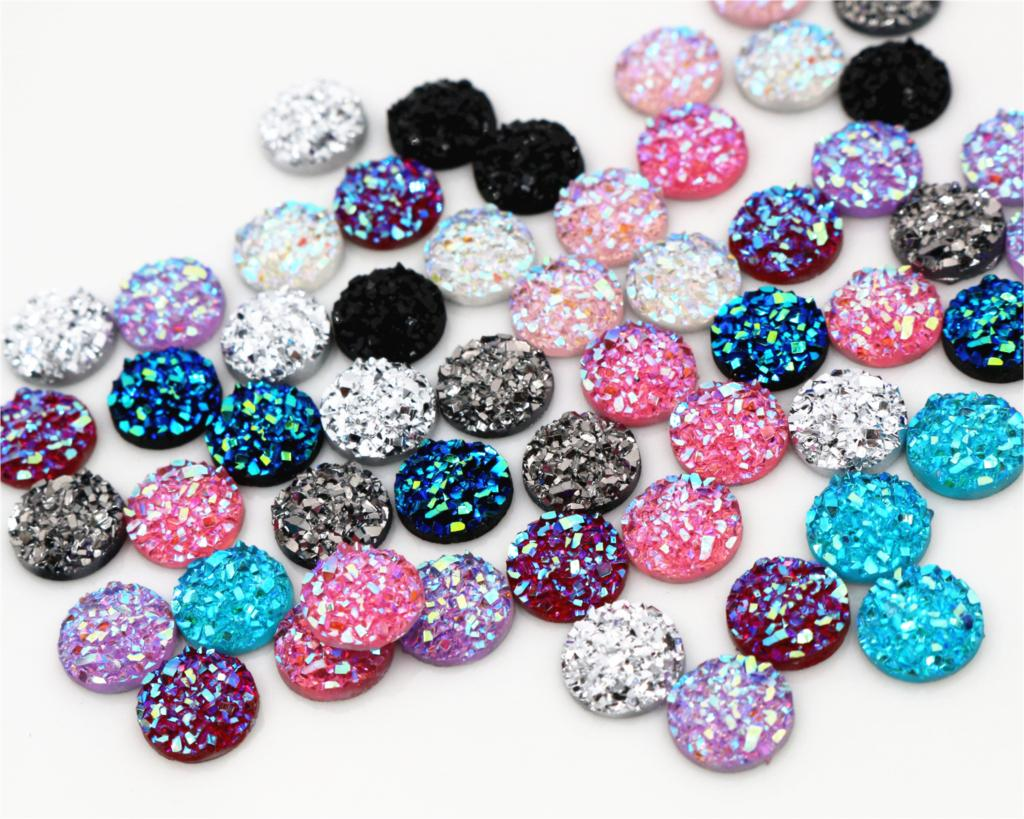 Cameo Cabochons Flat-Back-Resin Green 10mm Water 40pcs Mix-Colors And New-Fashion