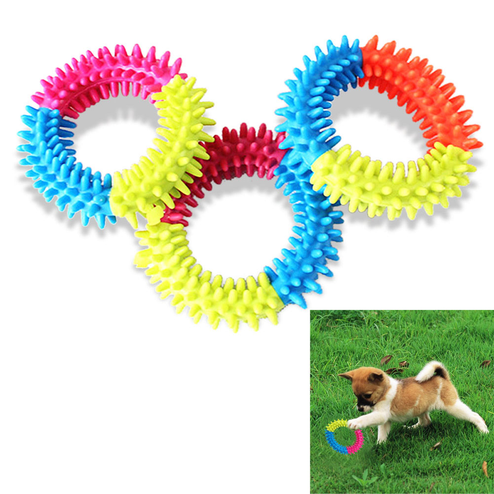Dog's Toys Pet Traning Products Pets 3 Color Relieve Spinose Ring TPR - Productos animales