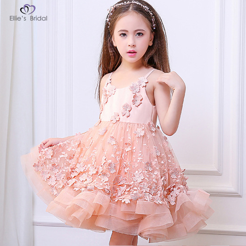 Ellies Bridal 2018 New Pink Lace Girl Dresses Flower Appliques Flower Girl Dress Kids Evening Gowns For Wedding First Communion 1 12t pink lace long trailing wedding dress flower girl dresses appliques first communion dresses for girls pageant dresses