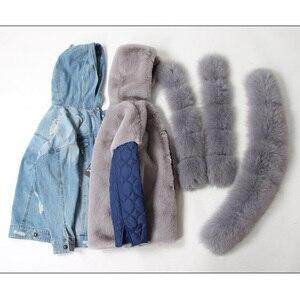Image 4 - Maomaokong 천연 토끼 모피 줄 지어 데님 재킷 여우 모피 코트 코트 패션 데님 여우 모피 따뜻한 레이디 겨울 자켓 여성 파카