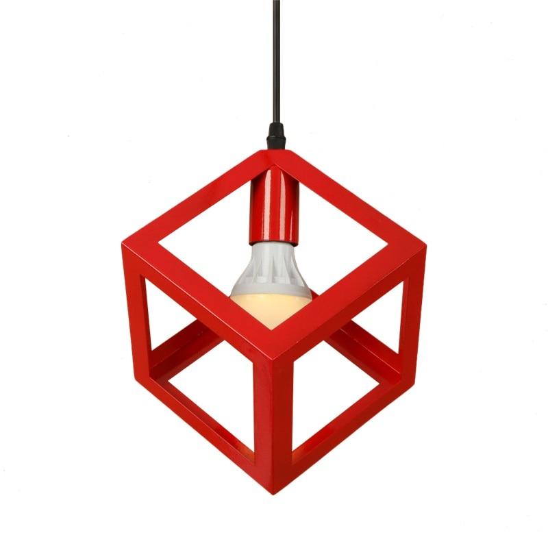 Industrial Vintage Iron Droplight Loft Style Creative Square LED Pendant Light Fixtures Retro HangingLamp Indoor Lighting