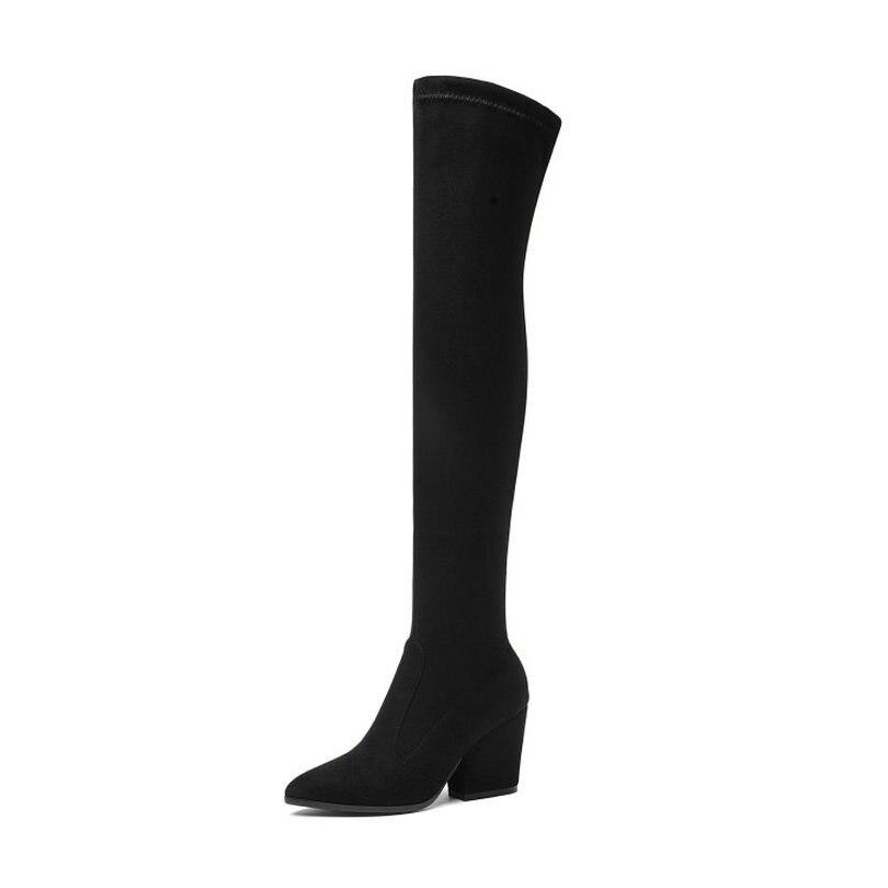 05632eb0c QUTAA 2019 las mujeres por encima de la rodilla botas altas pezuña de  invierno con tacón