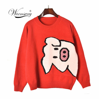 Spring Autumn New Women Pullover Sweaters O Neck Cartoon Pig Pretty Vintage Japan Style Ladies Knitwear Jumper Tops C 068