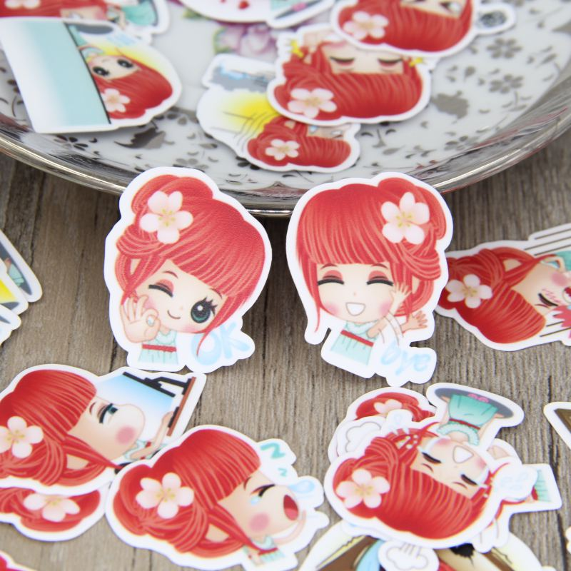 40pcs Cute Red Hair Girl Lady Cartoon Women Scrapbooking Stickers DIY Craft Decorative S ...