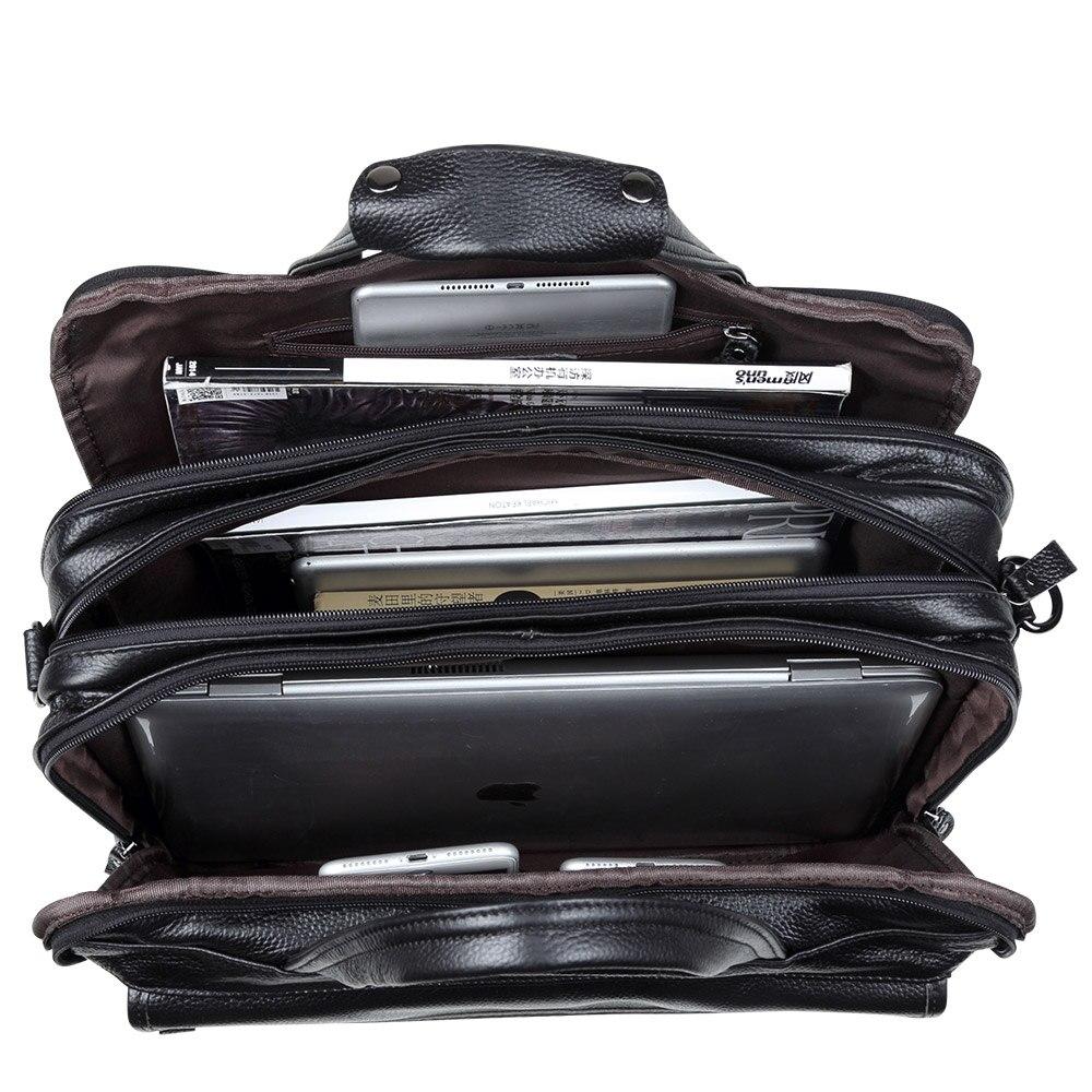 Mode Äkta Läder Män A4 Kontorsväska Handväska Business - Handväskor - Foto 5