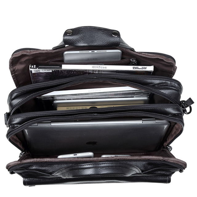 Fashion Genuine Leather Men A4 Office Bag Handbag Business Casual Men's Travel Bag 17″ Laptop Shoulder Bags Tote Briefcase