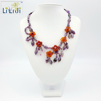 Mini Garden Series Natural Amethyst And Agate Flowers With Jade Toggle Clasp Necklace