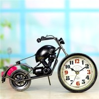 Modern Bike Decorative Alarm Clocks New Design metal Clocks Craft Living Room Saat Reloj Home Decoration cube alarm clock