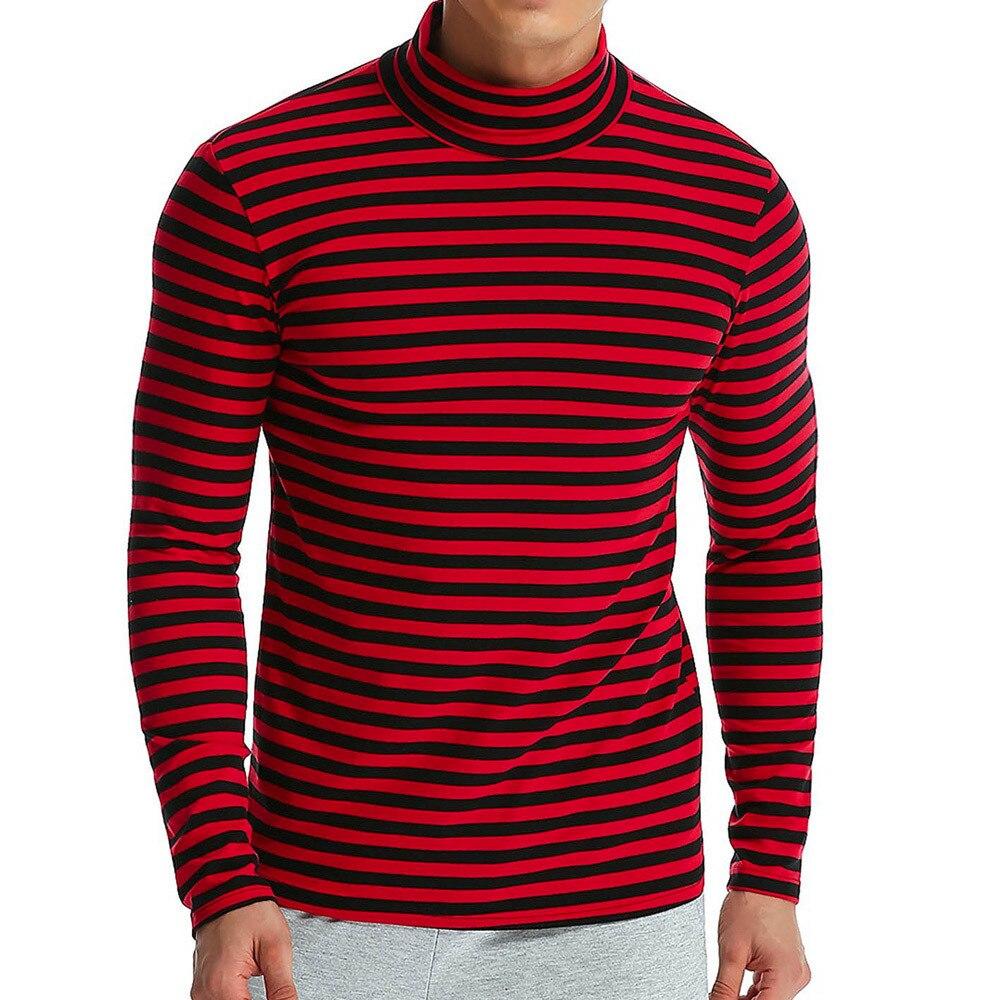 Hip Hop Men's Turtleneck T-Shirt black red Striped t-shirts Tees Long Sleeve T-Shirts autumn Casual Slim Tops camisa masculina