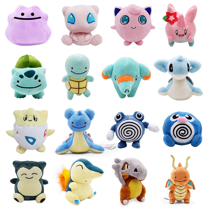 Pikachu Lapras Jigglypuff Dragonite Snorlax Psyduck Ditto Squirtle Bulbasaur Charizard Togepi Cubone Plush Toy Soft Stuffed Doll