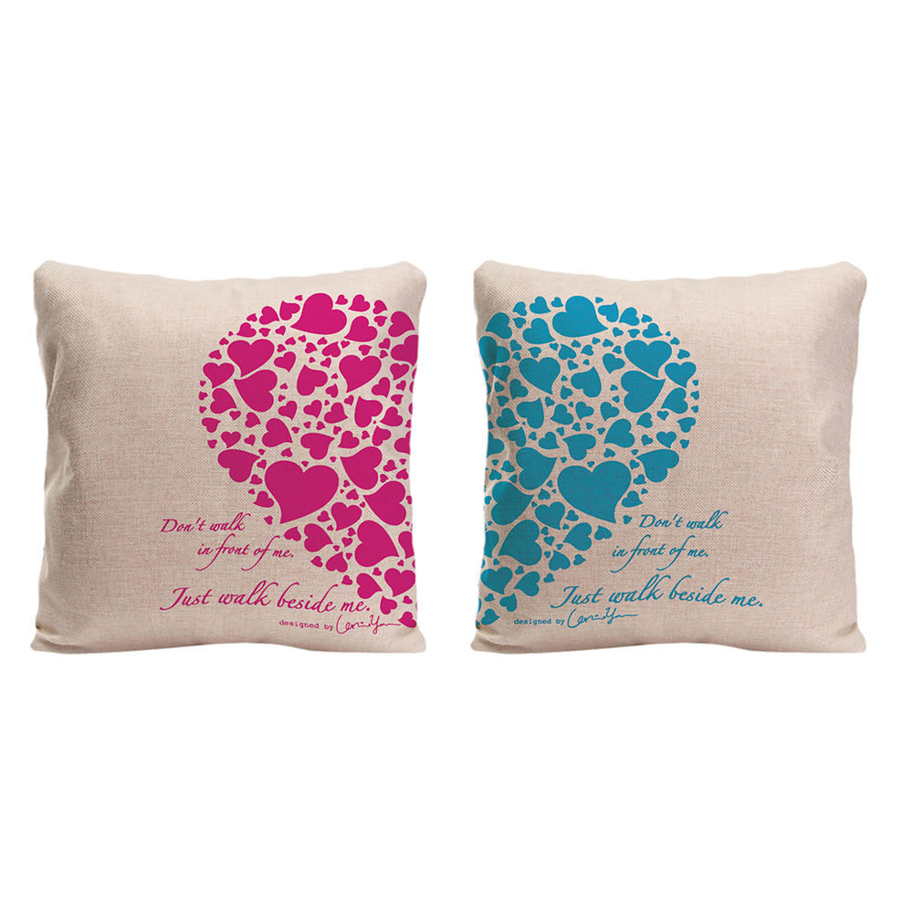 Love Hearts Couple Pillowcases Valentines Day Anniversary -8120