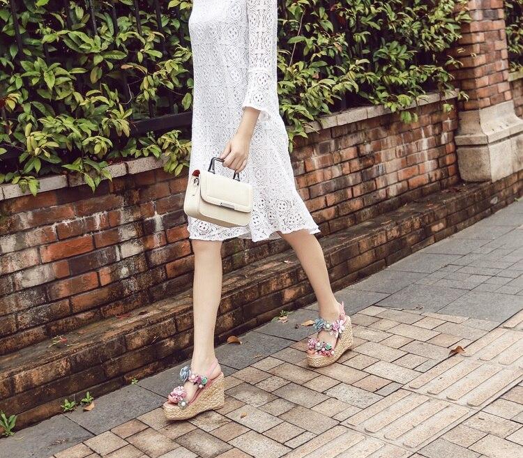 Sandales Talons Pictures Chaussures Femme À Perles D'été De Sangle Bout Cheville Ouvert Haute Cales Plate Date As Fleurs Plage Bohème forme R4wSUxEx