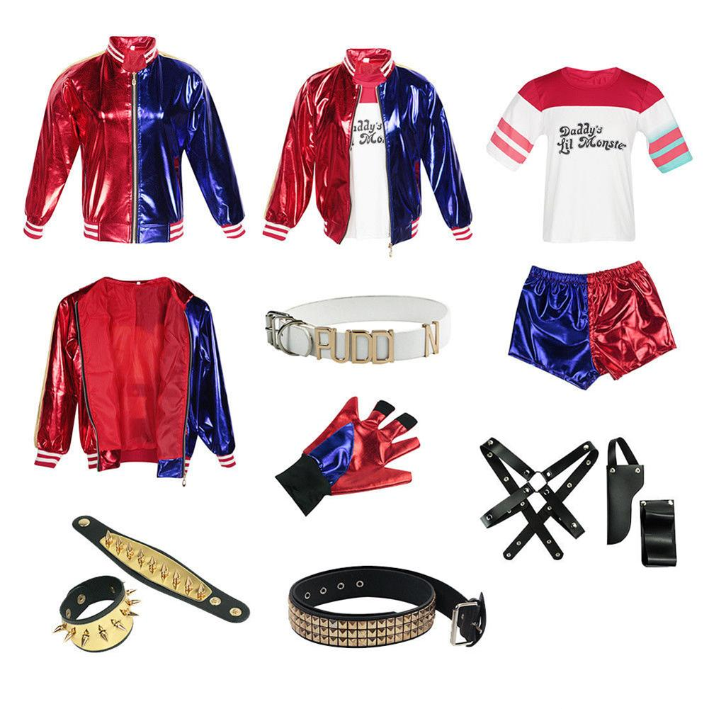 UK FAST POST Quality Harley Quinn Fancy Dress Costume Tattoos,HALLOWEEN Outfit