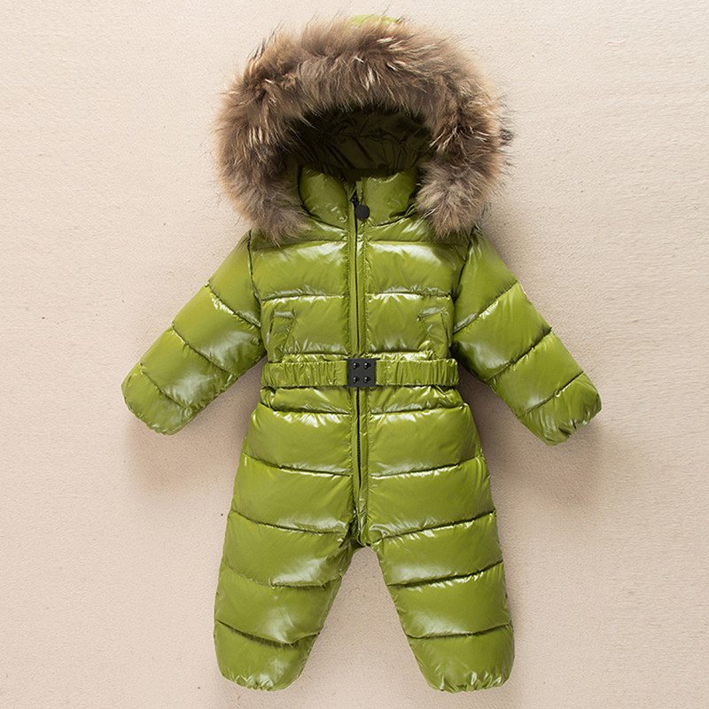 e3deb8bdb Baby Outerwear Newborn Winter Romper Boys Parka Girls Snowsuit Duck Down  Jumpsuit Infant Coats Fur Collar Hoodie Kids Clothes-in Snow Wear from  Mother ...
