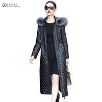 Winter Coat Women Genuine Leather Overcoat Plus Size Fur Collar Hooded Sheepskin X Long Leather Jackets